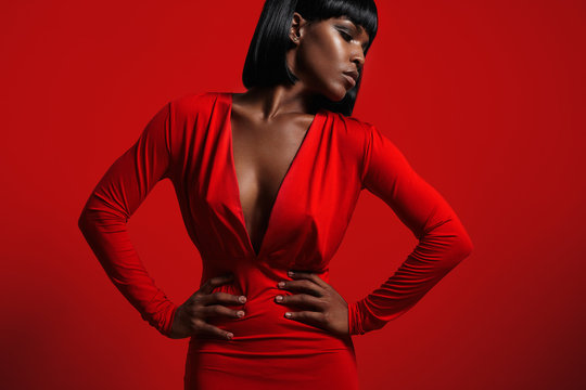 black woman in red