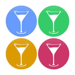 Cocktail Glass Circle Icons