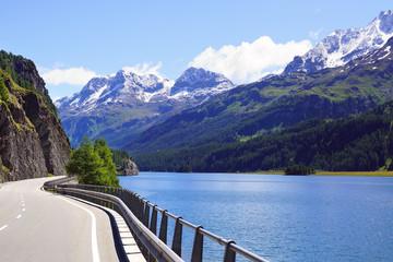 Picturesque nature landscape with lake. St. Moritz