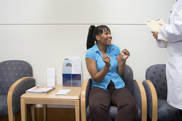 Woman getting good news at hospital