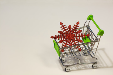 Grocery cart with Christmas snowflake