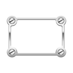 Silver metallic frame with screws