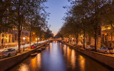 Beautiful canal at twilight