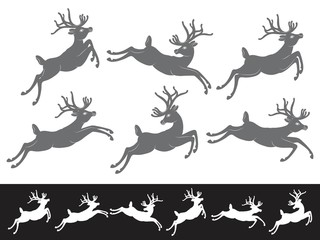 Black vector silhouettes on white background, set of different running and jumping Christmas Reindeer
