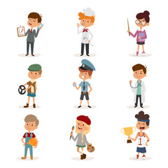 Set of cute cartoon professions kids. Painter, sportsman, cook chef, builder, policeman, doctor, artist, driver, businessman