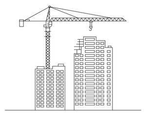 Thin line flat design. Building a house crane isolated on a white background. Vector illustration
