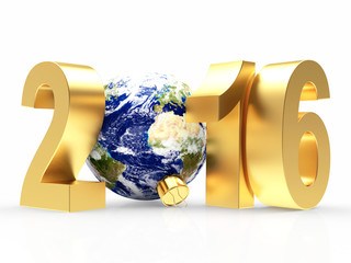 2016 New Year with Christmas ball in the form of the planet Earth furnished by NASA