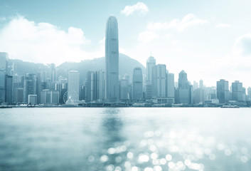 Wall Mural - Hong Kong harbour at sunny day, tilt shift bokeh
