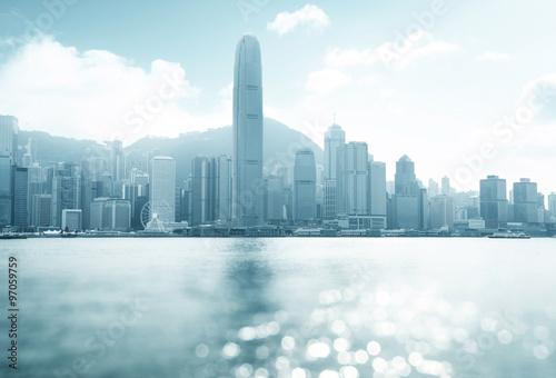 Fototapete Hong Kong harbour at sunny day, tilt shift bokeh