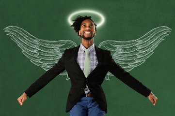Businessman With Wings and Halo