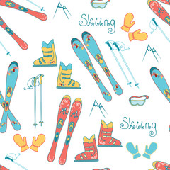 Cartoon Mountain Ski Seamless Pattern. Vector background with alpina ski, boots, mask and sticks for skis.