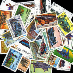 Postage Stamp Collage Background