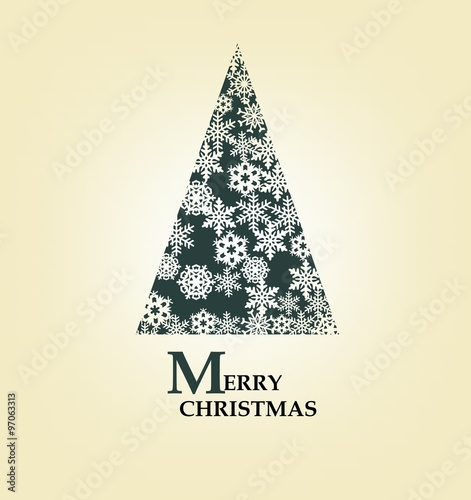 Merry christmas card with original decorated simple christmas tree merry christmas card with original decorated simple christmas tree and background m4hsunfo