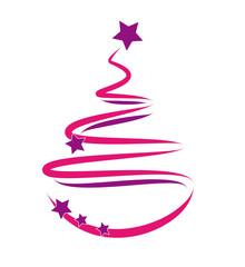 weihnachtsbaum pink/lila gescribbelt