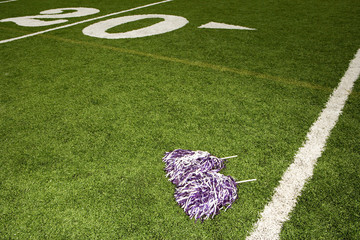 Cheerleading pom-poms on football field