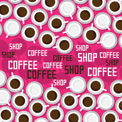 Coffee shop on a pink background.