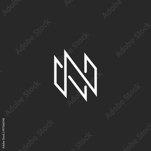 Logo N Monogram Letter Mockup Thin Line Modern Design