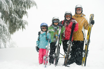 Family with skis