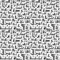 Handwritten vintage ink words vector seamless pattern with drops. Black letters. Lettering.