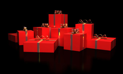 Christmas gift boxes with gold ribbons