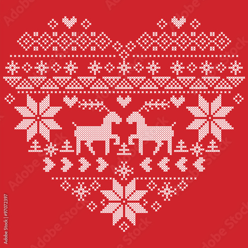 Scandinavian Nordic Winter Stitch Knitting Christmas Pattern In In