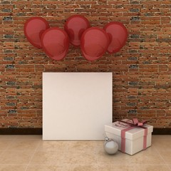 Empty picture frames in modern interior background on the brick wall with rustic stone floor with balloons. New Year and christmas concept. Copy space image.