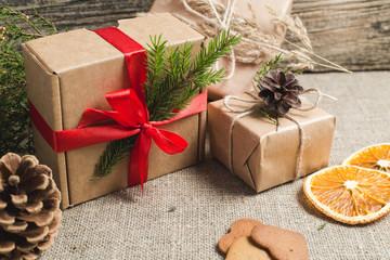 Handmade christmas gifts on a table.