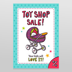 Toy shop vector sale flyer design with baby stroller