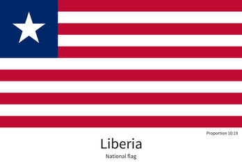 National flag of Liberia with correct proportions, element, colors
