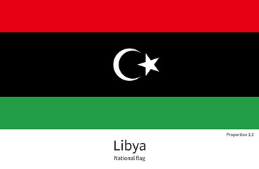 National flag of Libya with correct proportions, element, colors