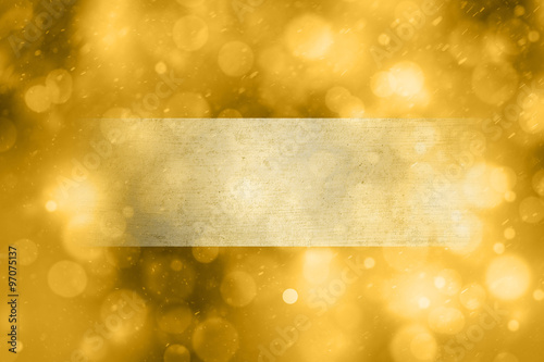 magical abstract bokeh golden color greeting card with grunge textured copy space banner background beautiful