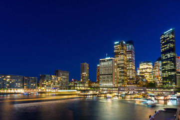 Circular Quay and  Sydney Business District Centre at night, Syd