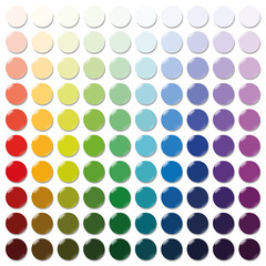 Counters - exactly one hundred round colorful plastic tokens sorted like a color swatch - from very bright to intense dark shades of all colors. Isolated vector illustration over white background.