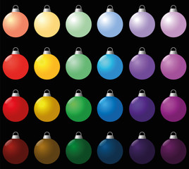 Colorful christmas balls. Seamless background can be created. Isolated vector illustration over black.