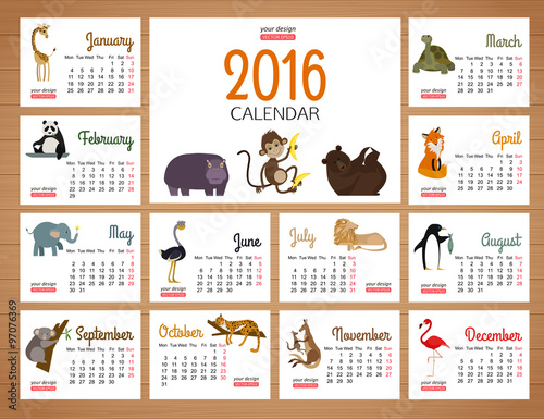 Kids Desk Calendar : Quot desk calendar vector print template with zoo animals