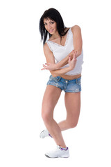 Fitness woman exercising dance class aerobics in full length isolated on white background