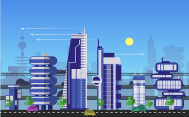 Busy urban cityscape templates with modern buildings, roads, futuristic traffic