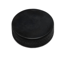 Hockey puck on white background