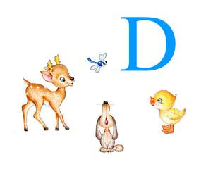 Letter D, deer, dog, duck, dragonfly
