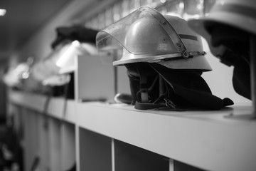 fire fighter helmets and work wear black and white