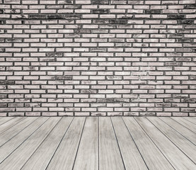 room interior white brick wall and wooden floor background