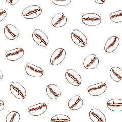 seamless vector pattern with coffee beans
