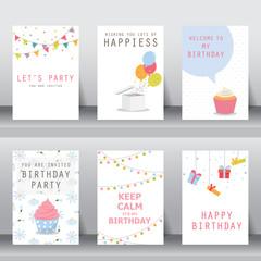 set of birthday invitation card