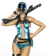 mercenary girl got a gun