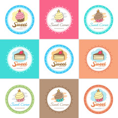Sweet bakery badge label and logo