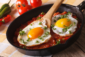 huevos rancheros: fried egg with salsa closeup in the pan. Horizontal