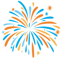 Fire work in orange and blue color