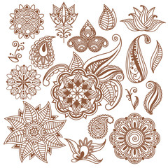 Henna tattoo, Mehndi. Abstract floral vector elements in indian style