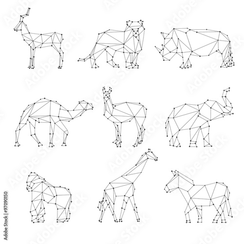 3d Line Drawing Game : Quot geometric animals silhouettes stock image and royalty