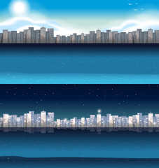 Buildings in city at day and night
